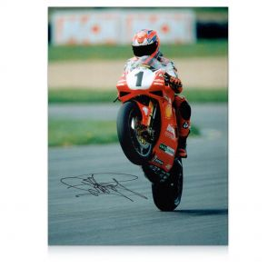 Carl Fogarty Signed Superbikes Photo: Victory Wheelie. In Gift Box