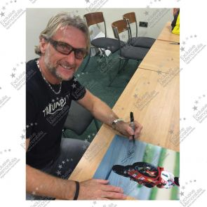 Framed Carl Fogarty Signed Superbikes Photo: Victory Wheelie