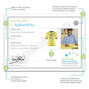 Ronaldo de Lima and Pele Signed Brazil Football Shirt In Deluxe Frame