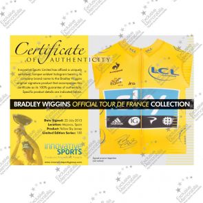 Bradley Wiggins Signed Tour De France 2012 Yellow Jersey Premium Frame