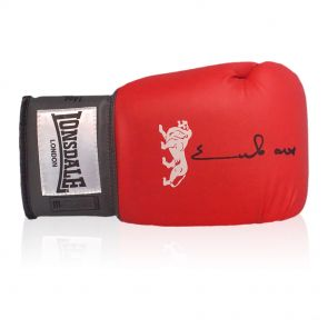 Chris Eubank Signed Red Boxing Glove In Display Case