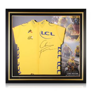 Chris Froome Signed Tour De France 2017 Yellow Jersey. Premium Frame