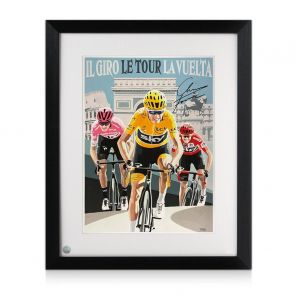 Chris Froome Signed Cycling Fine Art Print: Grand Tour Triple. Framed