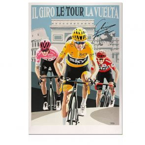 Chris Froome Signed Cycling Fine Art Print: Grand Tour Triple