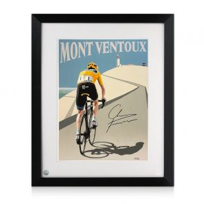Chris Froome Signed Cycling Fine Art Print: Victory On Mont Ventoux. Framed