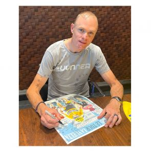 Chris Froome Signed Cycling Fine Art Print: Grand Tour Triple. Deluxe Frame