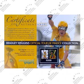 Bradley Wiggins Signed Cycling Photo: Tour de France Celebration. Framed