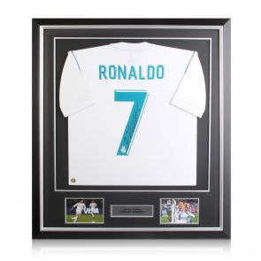 Cristiano Ronaldo Signed 2017-18 Real Madrid Football Shirt In Deluxe Frame