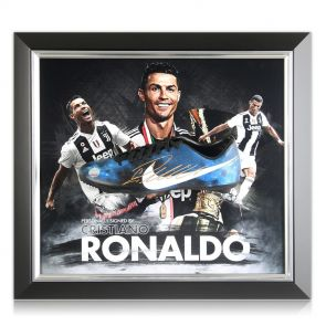 Framed Cristiano Ronaldo Signed Football Boot
