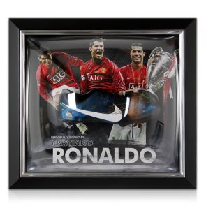 Cristiano Ronaldo Signed Football Boot: Framed Manchester United Presentation