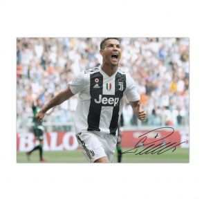 Cristiano Ronaldo Signed Juventus Photograph In Gift Box