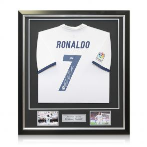 Framed Cristiano Ronaldo Signed Real Madrid 2016-17 Home Shirt