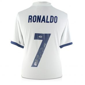 Cristiano Ronaldo Signed Real Madrid 2016-17 Home Shirt In Deluxe Black Frame With Silver Inlay