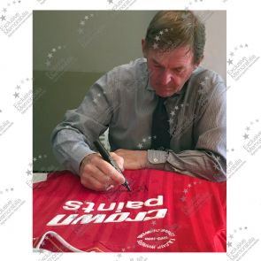 Kenny Dalglish Signed Liverpool Football Shirt In Deluxe Black Frame With Gold Inlay
