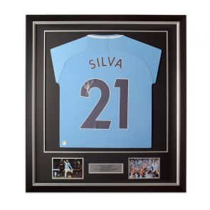 David Silva Signed Manchester City 2017-18 Football Shirt Limited Edition. Deluxe Frame