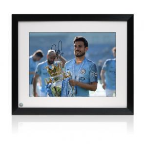 David Silva Signed Manchester City Photo. Framed