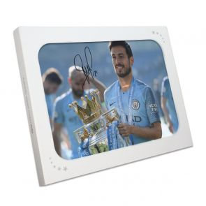 David Silva Signed Manchester City Photo. In Gift Box