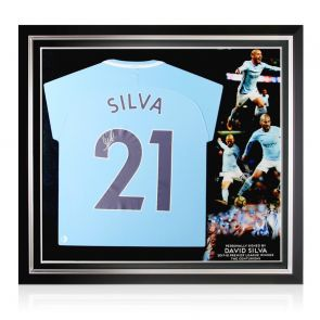 David Silva Signed Manchester City 2017-18 Player Issue Football Shirt. Premium Frame
