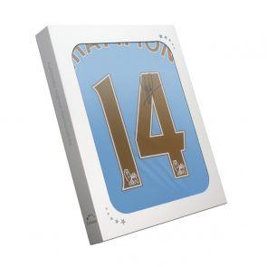 David Silva Signed Manchester City 2013-14 Shirt: Champions 14. In Gift Box