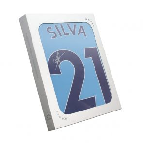 David Silva Signed Manchester City 2017-18 Player Issue Home Shirt. In Gift Box