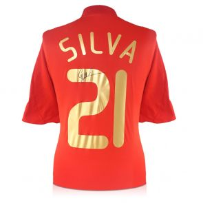 David Silva Signed Spain 2007-09 Home Shirt