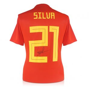 David Silva Signed Spain 2018-19 Home Shirt