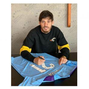 David Silva Signed Manchester City 2019-20 Home Shirt. Superior Frame