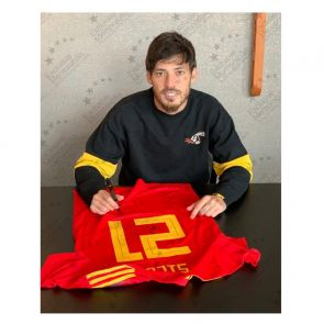 David Silva Signed Spain 2018-19 Football Shirt. Standard Frame