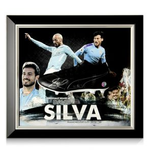 David Silva Signed Football Boot Manchester City Presentation. Framed