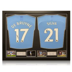 Kevin De Bruyne And David Silva Signed Manchester City 2019-20 Home Shirts. Dual Frame