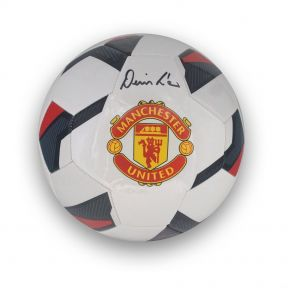 Denis Law Signed Manchester United Football In Display Case
