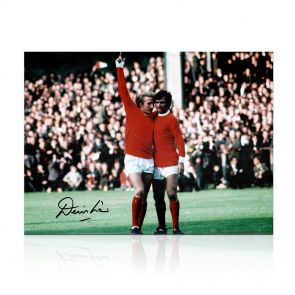 Denis Law Signed Manchester United Photo: With George Best. In Gift Box