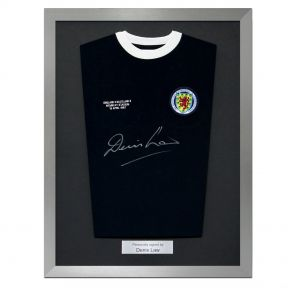 Signed Denis Law Scotland Shirt