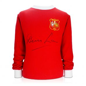 Denis Law Signed Manchester United 1963 FA Cup Winners Football Shirt In Gift Box