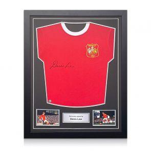 Denis Law Signed Manchester United Football Shirt. Standard Frame