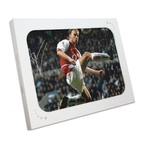 Dennis Bergkamp Signed Arsenal Photo In Gift Box