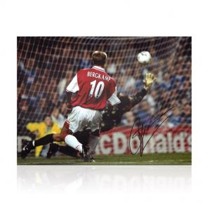 Dennis Bergkamp Signed Arsenal Photo: The Leicester Hat Trick In Gift Box