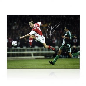 Dennis Bergkamp Signed Arsenal Photo: Shooting In Gift Box