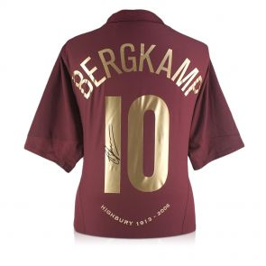 Dennis Bergkamp Signed 2005-06 Arsenal Commemorative Highbury Shirt In Gift Box