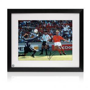 Framed Dennis Bergkamp Signed Holland Photo
