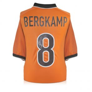 Dennis Bergkamp Signed 1998-00 Holland Nike Home Shirt. In Deluxe Black Frame With Silver Inlay
