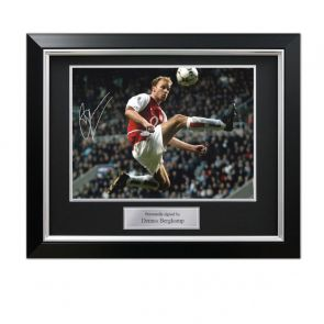 Dennis Bergkamp Signed Arsenal Photo: The Statue. Deluxe Frame