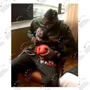 Smudged Stock - Deontay Wilder Signed Red Boxing Glove