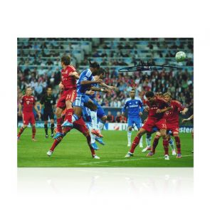 Didier Drogba Signed Chelsea Photo: Champions League Header