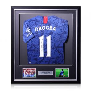 Didier Drogba Signed Chelsea 2019-20 Shirt. Deluxe Frame