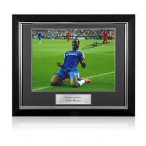 Didier Drogba Signed Chelsea Photo: Champions League Celebration. Deluxe Frame