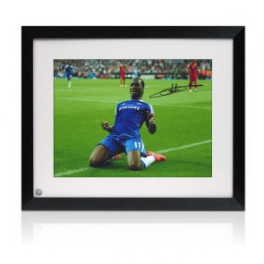 Didier Drogba Signed Chelsea Photo: Champions League Celebration. Framed