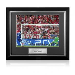 Didier Drogba Signed Chelsea Photo: Champions League Penalty. Deluxe Frame