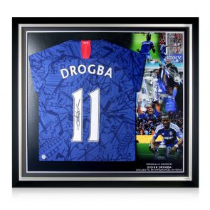 Didier Drogba Signed Chelsea 2019-20 Shirt. Premium Frame