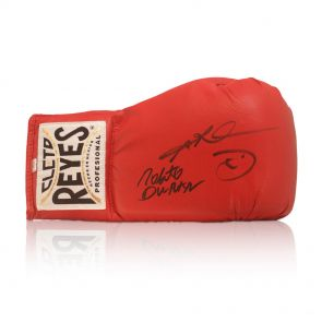Sugar Ray Leonard And Roberto Duran Signed Cleto Reyes Boxing Glove In Gift Box
